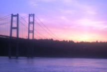 Sunset by Tacoma Narrows Bridge by Tommia Wright