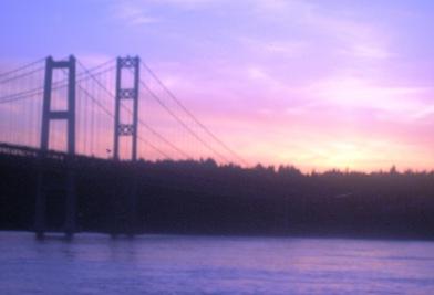 Sunset by Tacoma Narrows Bridge by Tommia Wright